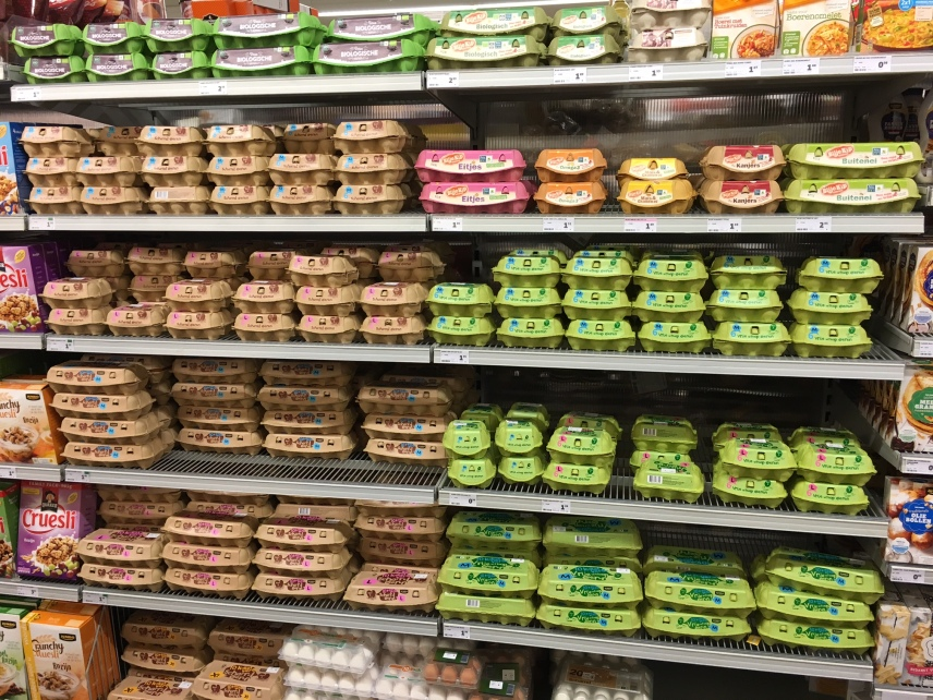 Variety of eggs sold in Dutch grocery stores, all aviary to free run systems
